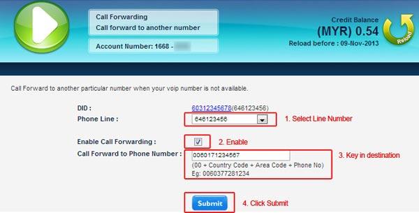 VoIP Malaysia Call Forwarding 3