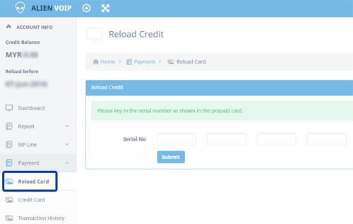 Reload Credit